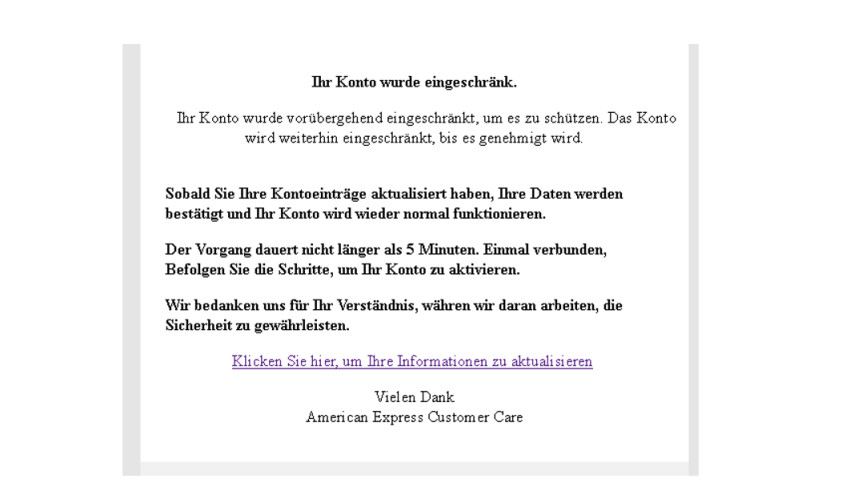 american express phishing ihr konto wurde eingeschr nkt anti spam info. Black Bedroom Furniture Sets. Home Design Ideas