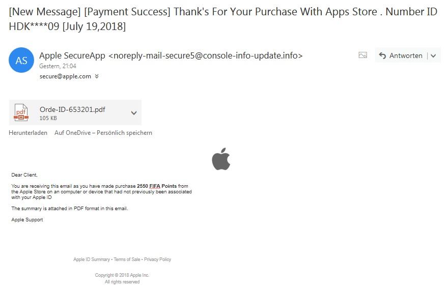 Apple-Phishing (Quelle: Screenshot)