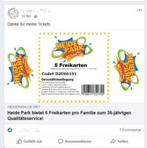 Heide-Park-Freikarten - Fake oder nicht? (Quelle: Screenshot)