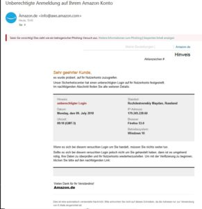"""""""Unberechtigte Anmeldung auf Ihrem Amazon Konto"""" - Vorsicht, Amazon-Phishing!"""