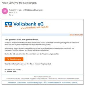 Volksbank-Phishing: Achtung, angeblich neue Sicherheitseinstellungen (Quelle: Screenshot)