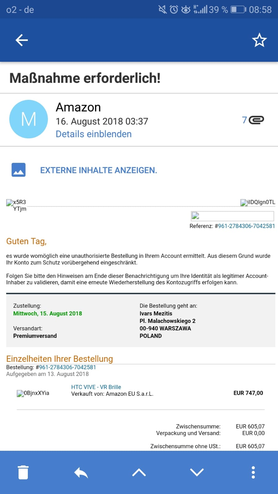 Angebliche Amazon-Bestellung ist Fake (Screenshot)