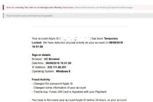"Apple-Phishing: "" We've sent subscribtions statements your Apple Password…"""