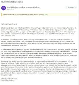 """""""Hallo mein lieber Freund"""" - Vorschussbetrug (Screenshot)"""
