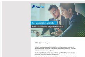 """PayPal-Fake: """"Ihre Liquidität ist gefährdet"""""""
