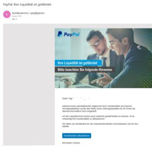 Achtung, PayPal-Fake (Screenshot)