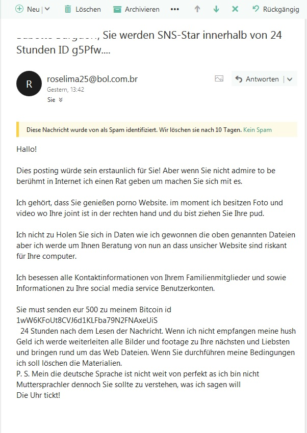 Porno-Erpressung (Screenshot)