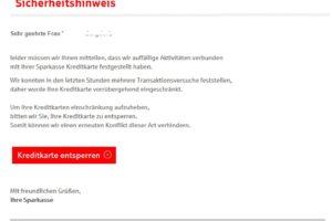"""Sparkasse-Phishing: """"Auffällige Aktivitäten mit Ihrer Sparkasse Kreditkarte"""""""
