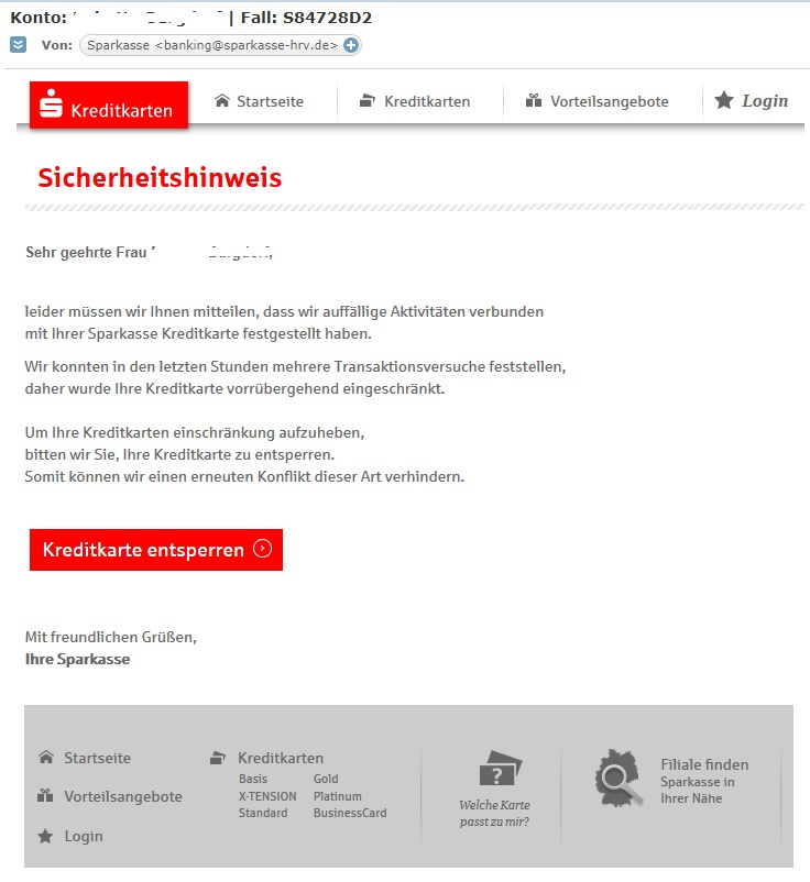 """Sparkasse-Phishing: """"Auffällige Aktivitäten mit Ihrer Sparkasse Kreditkarte"""" (Quelle: Screenshot)"""