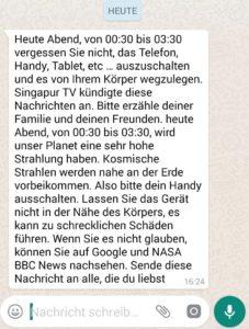 """WhatsApp-Hoax: """"Singapur TV kündigte diese Nachrichten an"""" (Screenshot)"""