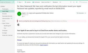 Apple-Phishing - Achtung! (Screenshot)