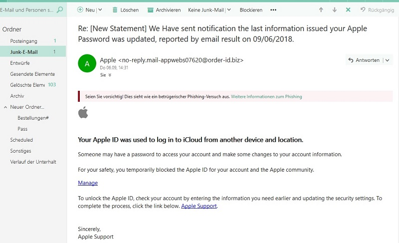 Apple-Phishing - Achtung! (Screenshot)