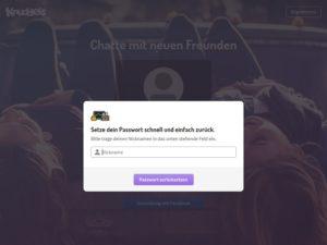 Knuddels: Passwort neu setzen (Screenshot knuddels.de)