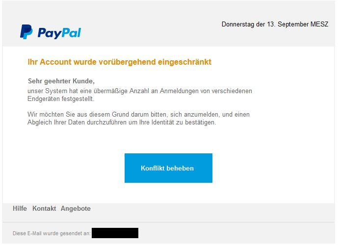 PayPal-Phishing (Quelle: verbraucherzentrale.nrw)