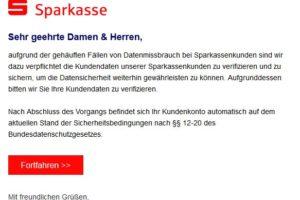 """Sparkasse-Phishing: """"aufgrund der gehäuften Fällen von Datenmissbrauch…"""""""