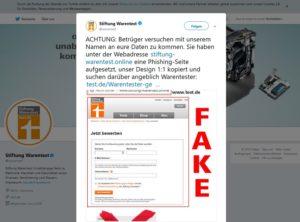 Stiftung Warentest warnt (Screenshot Twitter)