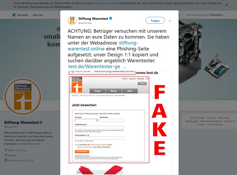 Stiftung Warentest warnt (Screenshot Twitter)