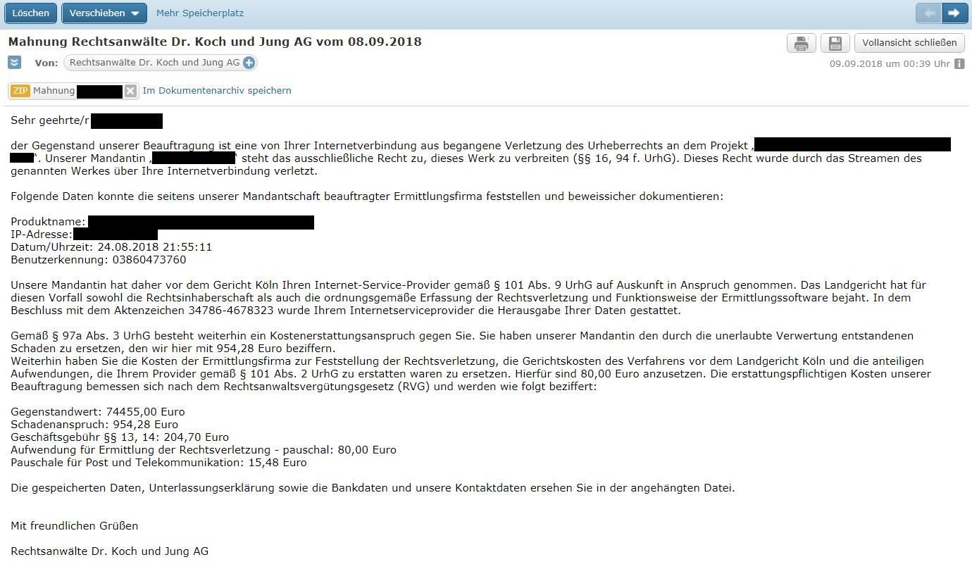 Virus-Mahnung der Rechtsanwaltskanzlei Dr. Koch und Jung AG (Screenshot)