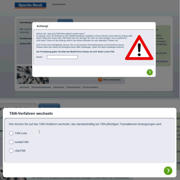 Phishing im Online-Banking (Quelle: Sparda-bank-hamburg.de)