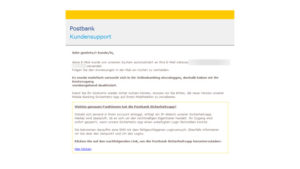 Achtung, Postbank-Phishing! (Quelle: Verbraucherzentrale)