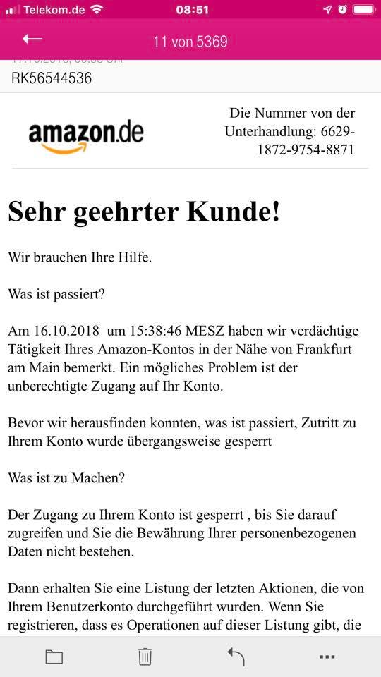 Vorsicht vor Amazon-Phishing! (Screenshot)