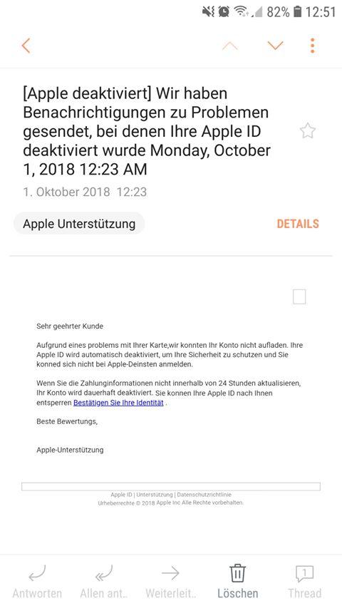 Apple-Phishing: Apple deaktiviert (Screenshot eines Lesers)