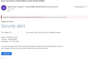Apple-Phishing: Apple account Security alert