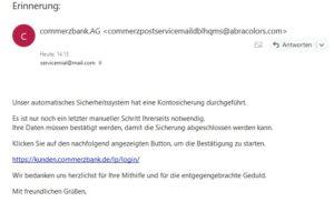 """Vorsicht, Commerzbank-Phishing: """"Erinnerung:"""""""