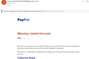 """""""Warning: Limited Account"""" ist PayPal-Phishing – Vorsicht!"""