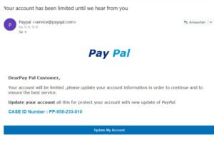"Wieder PayPal-Phishing: ""account has been limited until we hear from you"""
