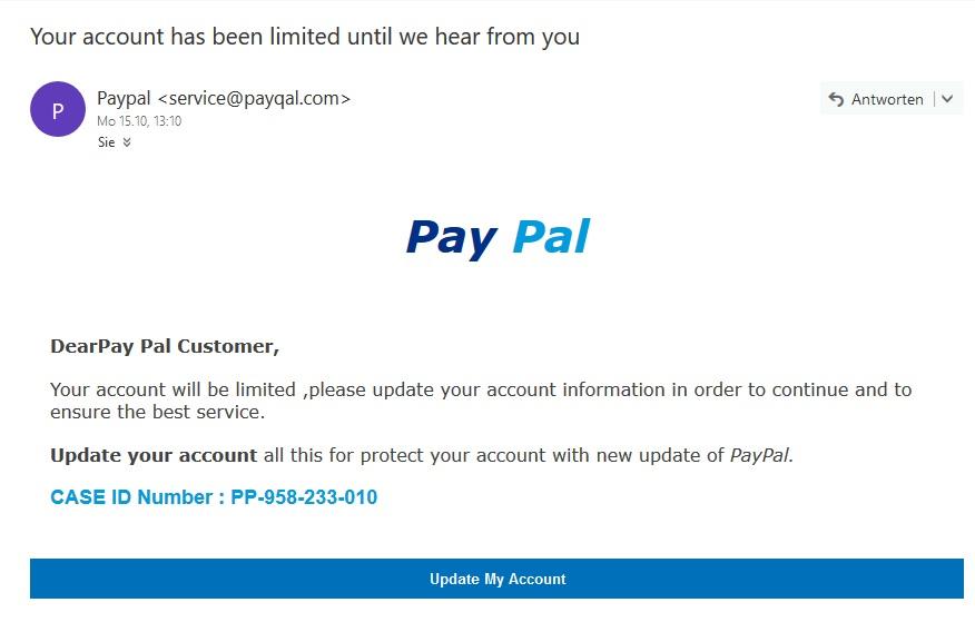 Wieder einmal PayPal-Phishing (Screenshot)