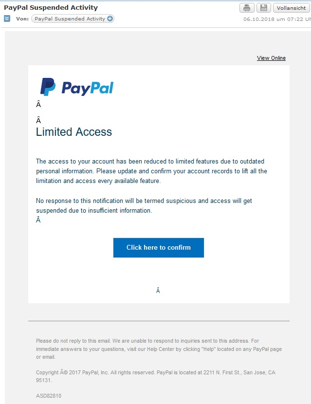 PayPal-Phishing: Limited Access (Screenshot)