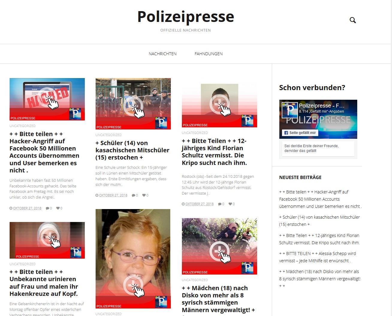 Vorsicht vor polizei-presse! (Screenshot)