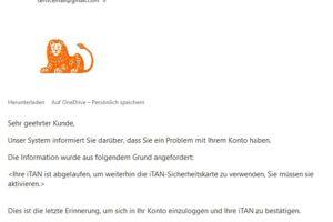"ING-DiBa-Phishing: ""Problem mit Ihrem Konto"""