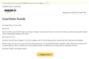 "Amazon-Phishing: ""Geachteter Kunde"""