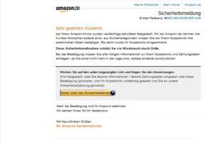 """Amazon-Phishing: """"Sicherheitsdienst vom Bekanntmachung"""""""