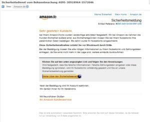 """Amazon-Phishing: """"Sicherheitsdienst vom Bekanntmachung"""" (Screenshot)"""