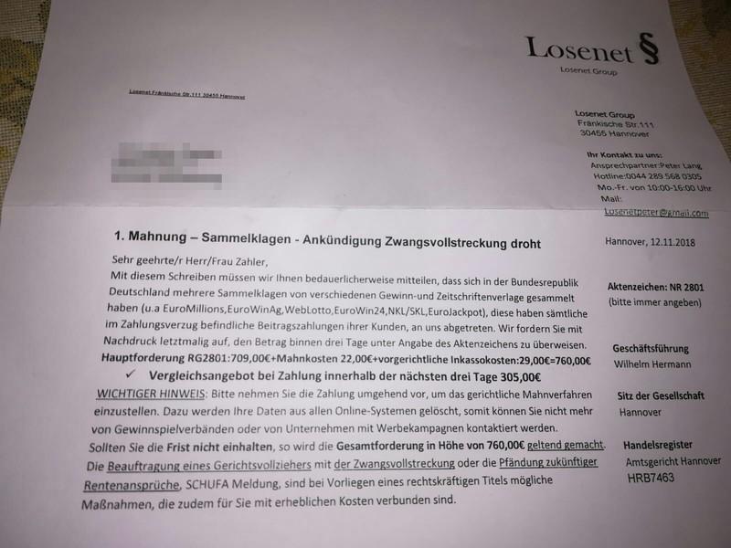 Ankündigung Zwangsvollstreckung der Losenet Group (Foto einer Leserin)
