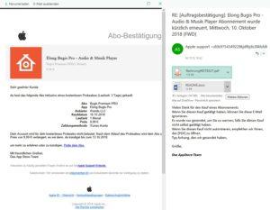 Apple-Phishing Fake-Auftragsbestätigung (Screenshot)