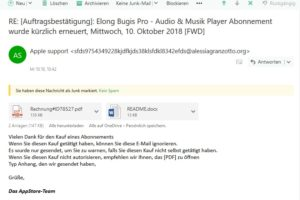 Achtung, Apple-Phishing: [Auftragsbestätigung]: Elong Bugis Pro