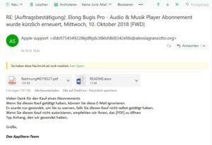 Auftragsbestätigung ist Apple-Phishing (Screenshot)