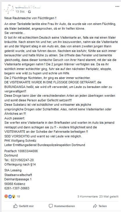 Drogen-Visitenkarte von Flüchtlingen?! (Screenshot Facebook)
