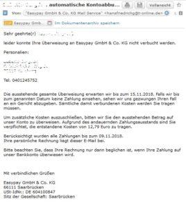 Easypay GmbH & Co. KG - Virus-Mahnung (Screenshot)