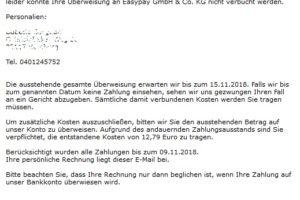 Vorsicht, Mahnung der Easypay GmbH & Co. KG ist ein Virus!