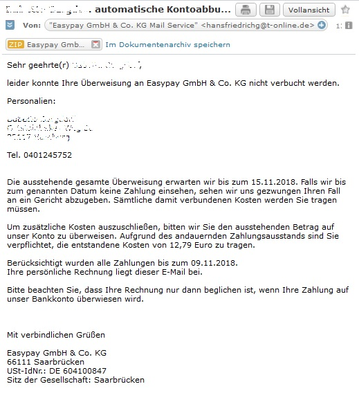 Easypay GmbH & Co. KG - Virus-Mahnung (Screenshot)