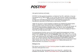 "Kein POSTPAY-Phishing: ""Kündigung Ihres POSTPAY Kundenkontos"""