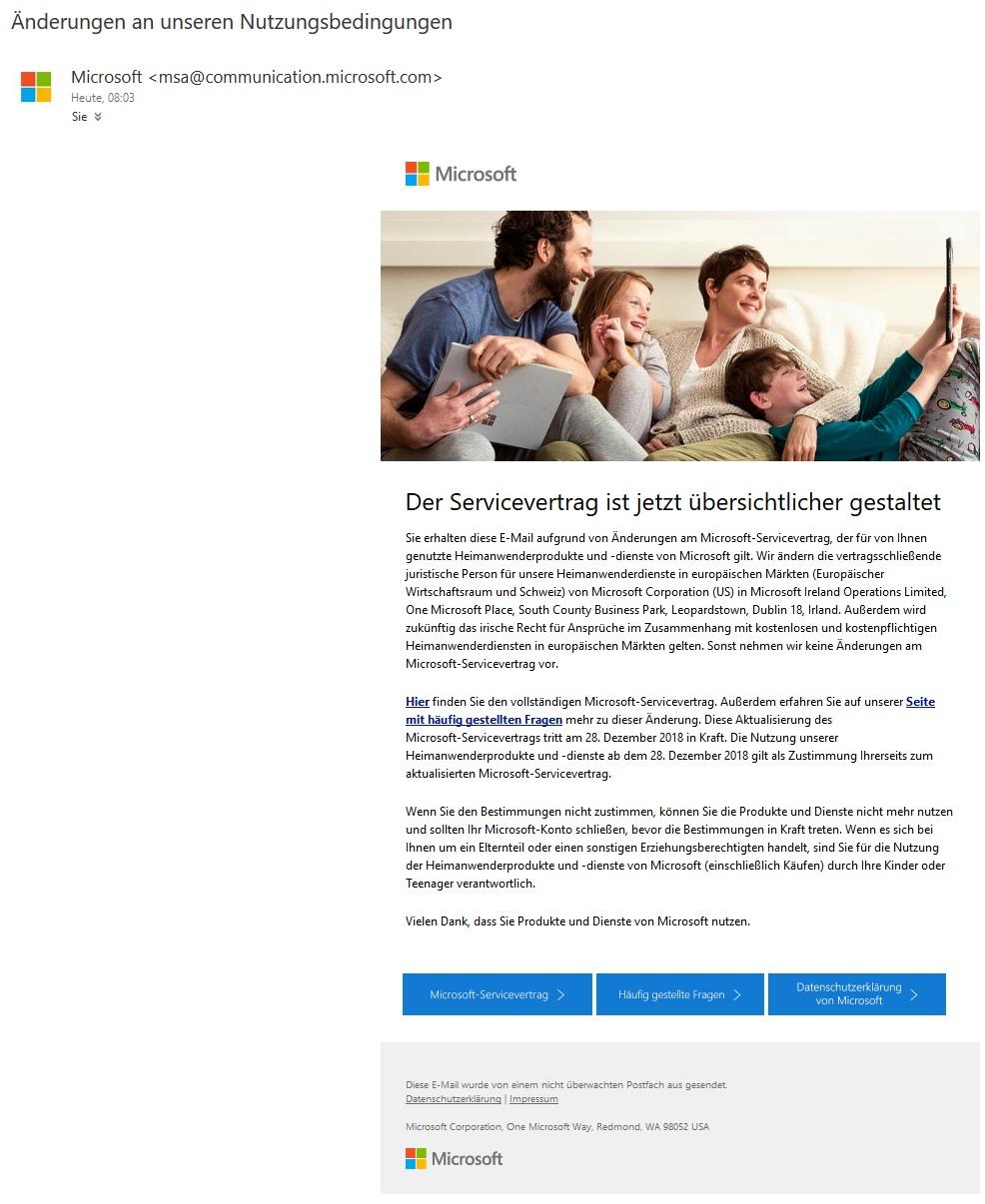 Microsoft: Änderung der Nutzungsbedingungen (Screenshot)
