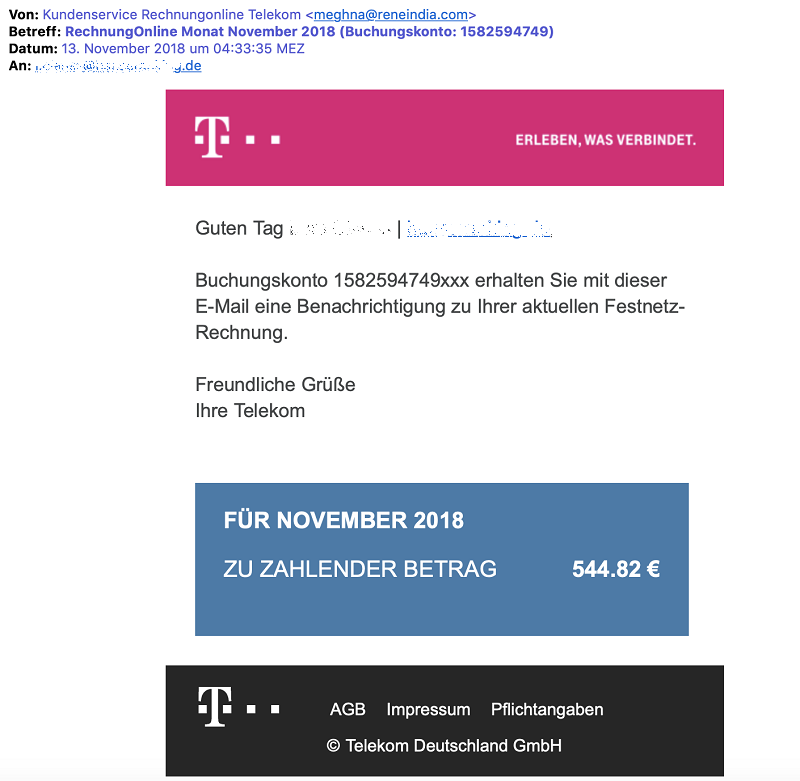 Virus mit angeblicher Telekom-Rechnung (Screenshot)