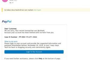 "PayPal-Phishing: ""Re: [Reminder Account Information]"""