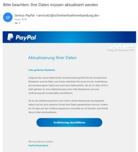 DSGVO-PayPal-Phishing (Screenshot)